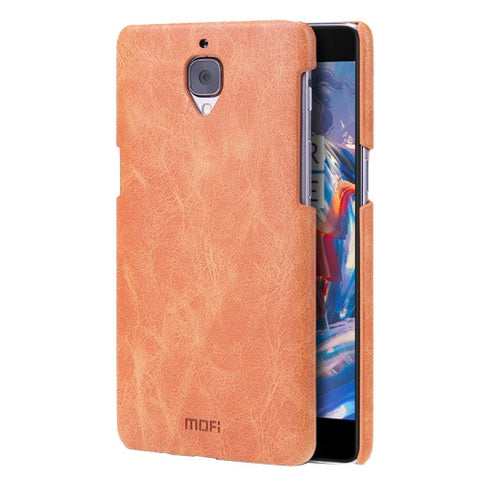 MOFI OnePlus Three / A3000 Crazy Horse Texture Leather Surface PC Protective Case Back Cover(Brown)