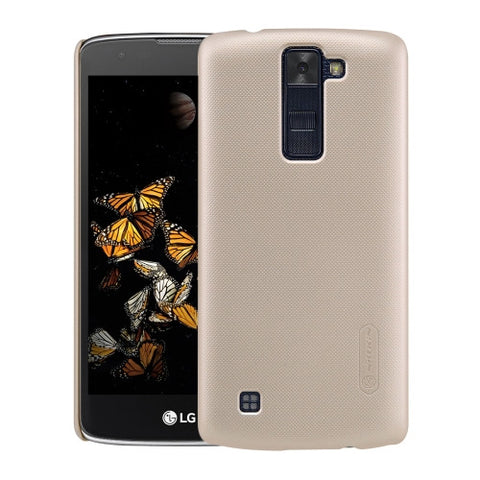NILLKIN Frosted Shield for LG K8 Concave-convex Texture PC Protective Case Back Cover(Gold)