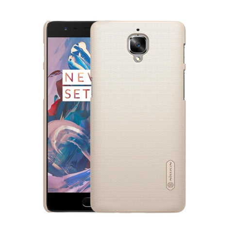 NILLKIN Frosted Shield OnePlus Three / A3000 Concave-convex Texture PC Protective Case Back Cover(Gold)