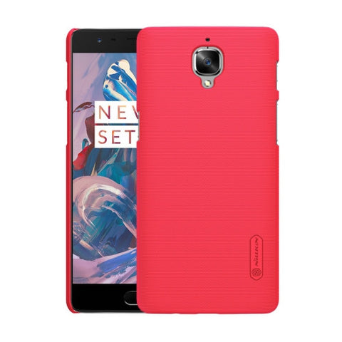 NILLKIN Frosted Shield OnePlus Three / A3000 Concave-convex Texture PC Protective Case Back Cover(Red)