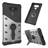 For LG G6 Shock-Resistant 360 Degree Spin Sniper Hybrid Case TPU + PC Combination Case with Holder (Silver)