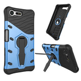 For Sony Xperia X Compact Shock-Resistant 360 Degree Spin Tough Armor TPU + PC Combination Case with Holder(Blue)
