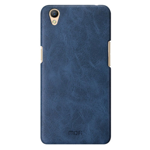MOFI OPPO A37 Crazy Horse Texture Leather Surface PC Protective Case Back Cover(Dark Blue)