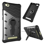 Xiaomi Redmi 4A Shock-Resistant 360 Degree Spin Sniper Hybrid Case TPU + PC Combination Case with Holder (Black)
