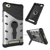 Xiaomi Redmi 4A Shock-Resistant 360 Degree Spin Sniper Hybrid Case TPU + PC Combination Case with Holder (Silver)