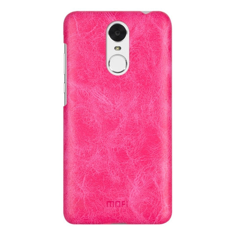 MOFI Huawei Enjoy 6 Crazy Horse Texture Leather Surface PC Protective Case Back Cover (Magenta)