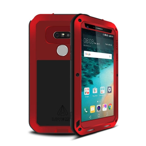 LOVE MEI for LG G5 Professional and Powerful Waterproof Dustproof Shockproof Anti-slip Metal Protective Case(Red)