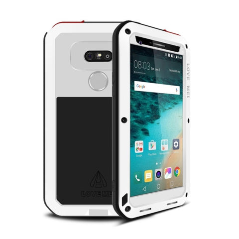 LOVE MEI for LG G5 Professional and Powerful Dustproof Shockproof Anti-slip Metal Protective Case(White)