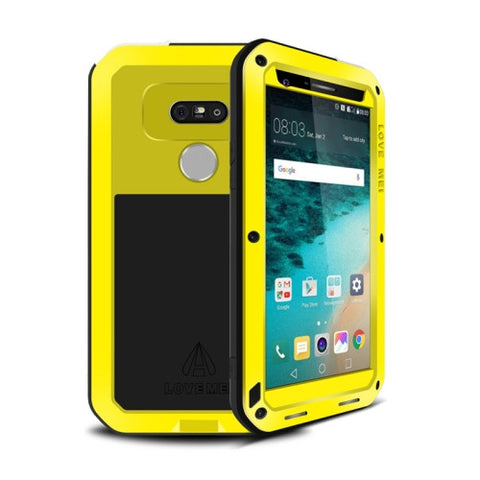 LOVE MEI for LG G5 Professional and Powerful Dustproof Shockproof Anti-slip Metal Protective Case(Yellow)