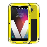 LOVE MEI for LG V20 Professional and Powerful Dustproof Shockproof Anti-slip Metal + Silicone Combination Case(Yellow)