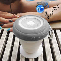 ROCK Multifunctional Pocket Party Bluetooth Speaker Portable Folding Wireless Stereo Light Twinkling Subwoofer Audio Receiver Phone Holder with Built-in Microphone Support Hands-free Calls Size: 92mm * 92mm * 35mm(Maximum 87mm)(Grey)