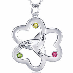 Personalized Name NecklaceTri Heart Design with Birthstone choice - Silver