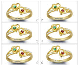 Gold Over Sterling Silver - Swirl Twin Heart Stone Ring - Name Engraving & Stone Colour - Zasttra.com - 2