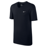 Nike V-Neck T-Shirt embroidered swoosh black white - Small - Zasttra.com