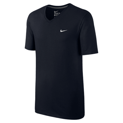 Nike V-Neck T-Shirt embroidered swoosh black white - Small