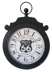 Route 66 Highway Metal Wall Clock 60cm X 6cm X 85cm