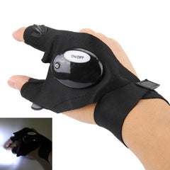 Dual LED Light Night Fishing Two Fingers Glove