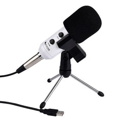 FIFINE K056 Handheld Mic Universal Sound Recording Microphone with Tripod Stand for PC & Laptop USB2.0 Earphone Port Cable Length: 2.5m(White)