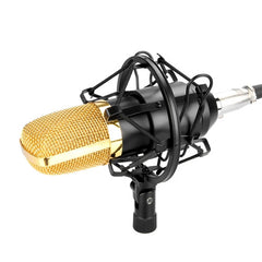 FIFINE F-700 Professional Condenser Sound Recording Microphone with Shock Mount for Studio Radio Broadcasting 3.5mm Earphone Port Cable Length: 2.5m(Black)
