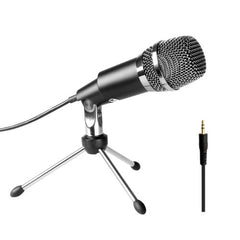 FIFINE K667 Home KTV Handheld Mic Universal Sound Recording Microphone with Tripod Stand for PC & Laptop 3.5mm Earphone Port Cable Length: 1.3m(Black)