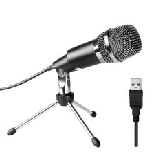 FIFINE K668 Home KTV Handheld Mic Universal Sound Recording Microphone with Holder for PC & Laptop USB2.0 Earphone Port Cable Length: 1.3m(Black)