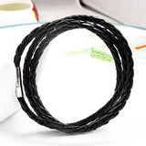 Knitted 3 layers Stainless steel buckel leather bracelet, Best Gift (Black)