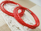 Knitted 3 layers Stainless steel buckel leather bracelet, Best Gift (Red)