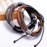 Multilayer Weave Wrap Hemp & Genuine Leather Bracelet Vintage for Men (2 pieces)