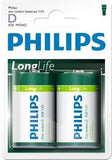 Philips LongLife 2x Type D / R20 Zinc Carbon Battery
