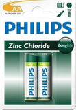 Philips LongLife Battery 2 X R6L2B AA Zinc Chloride