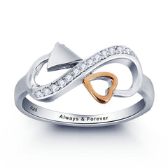 Personalized Solid Sterling Silver Infinity Ring with 18K GP heart detail - US 8