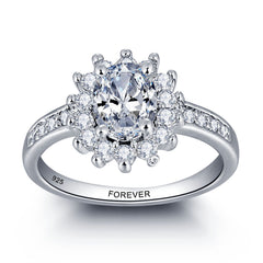 Personalized Solid Sterling Silver Engagement ring adorned with CZ stones - US 6