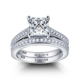 Engagement  Wedding Solid Silver Ring with 2ct Cr Stone and Personalized inscription - US 7