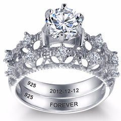Engagement  Wedding Solid Sterling Silver Ring Dual band with Filigree design and Personalized inscription - US 7