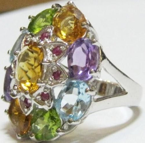 Grand Multi Natural Gemstone Jeweled Ring