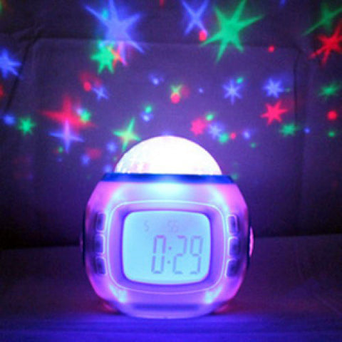 Music and Starry Sky Calendar Clock with Date / Week / Temperature / Music / Dynamic Projection of Colored Starry Sky / Ararm / Countdown  Function (UI-1038)