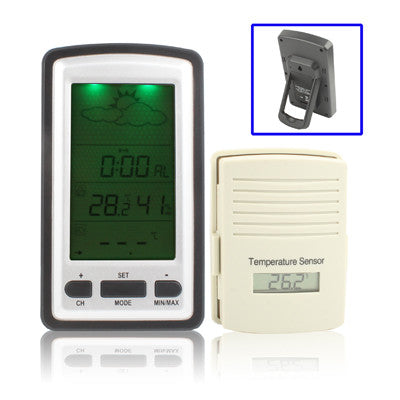 Wireless Weather Station LCD Display Clock with Perpetual Calendar / Temperature / Humidity / Remote Sensor / Weather Forecast Tendency / Alarm / LED Backlight