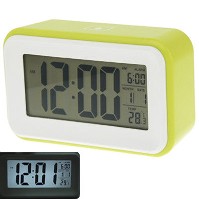 Multi Function Large Screen Alarm Clock with Calendar & LCD Light & Snooze Touch (Light Green)