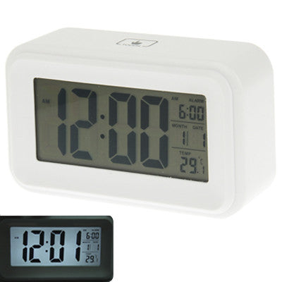 Multi Function Large Screen Alarm Clock with Calendar & LCD Light & Snooze Touch (White)