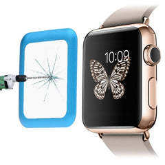 Link Dream for Apple Watch 38mm 0.2mm 8-9H Surface Hardness Metal Full-covered Tempered Glass Film(Blue)
