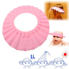 Baby Child Kid Soft Shampoo Bath Shower Wash Hair Shield Hat Cap (Pink)