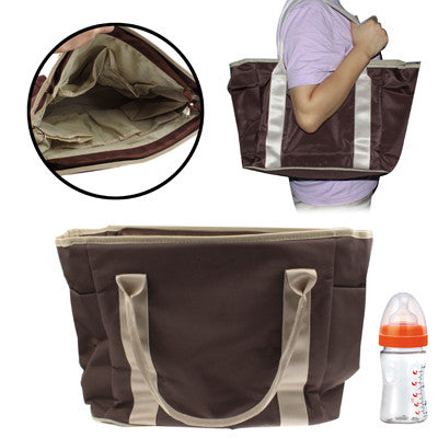 High Quality Rainproof Cloth Baby Products Hand Bag with Braces(Brown)