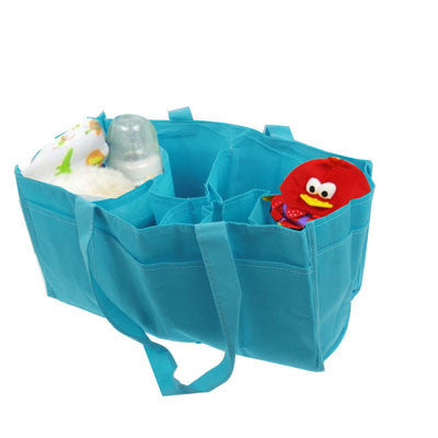 Double-Deck Non-Woven Fabric Mommy Diaper Hand Bag with 7 Compartments (Blue)
