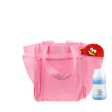 Non-Woven Fabric Mommy Diaper Hand Bag with 6 Outside Pockets (Pink)