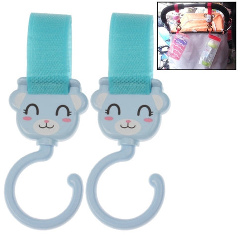 Lovely Cartoon Style Velcro Enclosure Hanger Clasp Hook for Baby Carriage (2pcs in one packaging the price is for 2pcs)(Blue)