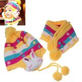 Children Thickening Warm Hat & Scarf Set for Autumn / Winter with Rabbit Decoration