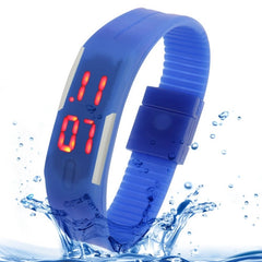 Fashion Waterproof Silicone Bracelet Watch with LED Display(Dark Blue)