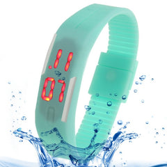 Fashion Waterproof Silicone Bracelet Watch with LED Display (Cyan)