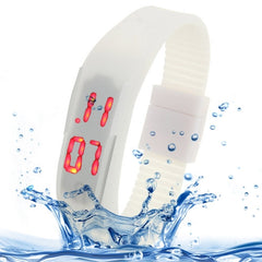 Fashion Waterproof Silicone Bracelet Watch with LED Display(White)