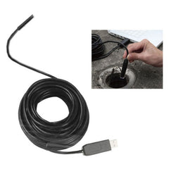 720P Waterproof USB Endoscope Snake Tube Inspection Camera with 6 LED Length: 15M Lens Diameter: 10mm(Black)